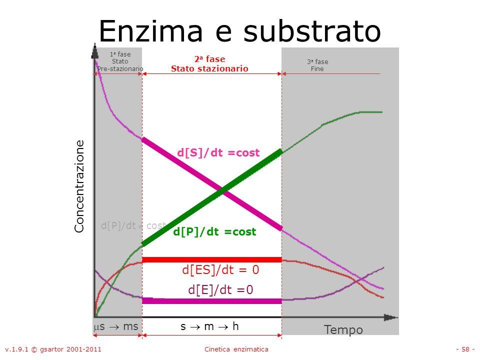 Enzima e substrato Concentrazione d[ES]/dt = 0 d[E]/dt =0 Tempo